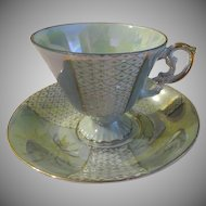 Soft Green Lusterware Demitasse Cup with Saucer - B172