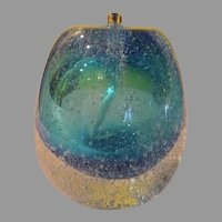 Bodacious Blue Art Glass Oil Candle/paperweight - b56