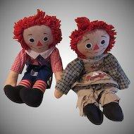 Knickerbocker Raggedy Andy and Ann Dolls - b62