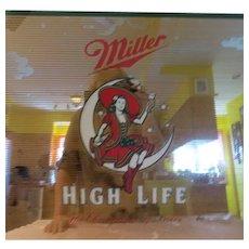 Miller Girl in the Moon Miller High Life Beer Mirror