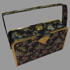 Black Pagoda Embroidered Carry-all Handbag  - b62