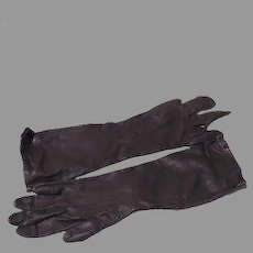 Black Leather Over the Wrist gloves - Free shipping - b61