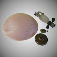 Pink with Frosted Swirl Glass Shade Light Fixture - g