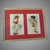 Embroidered Gallarda Postcards Matador and Senorita  Matted and Framed - b175