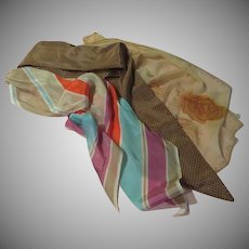 Striped, Dotted and Floral Beige Scarf Trio