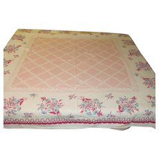 Blue and Pink Daisy with Pink Center Tablecloth - L7