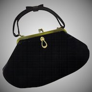 Black Velvet with Faux Pearl Accent Evening Bag - b63