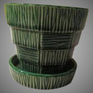 McCoy 4'' Green Basket-weave Flowerpot - b174