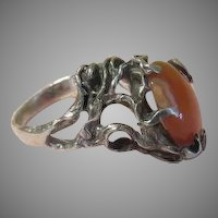 Nature Inspired Organic Silver with Carnelian Ring size 8 - free shipping