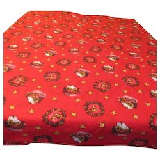 Bells and stars on Red Christmas Tablecloth - b121