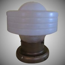 Ribbed Frosted Glass Shade Ceiling Light Fixture - g