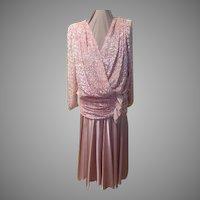 80's Glam Pink Cut Velvet Dress