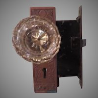 Glass Door Knob Set with Copper Lock Set - b180