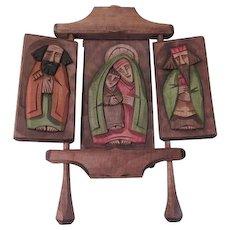 Folk Art Wood Carved Triptych Icon - b179