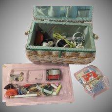 Basket weave Sewing Basket Chock Full of Sewing Notions - b175