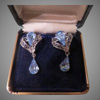 Sterling Blue Stone Screw Back Earrings - Free shipping