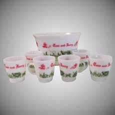 Tom and Jerry Hazel Atlas Punch set with cups - b62
