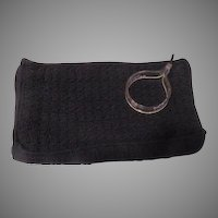 Black Crocheted Handbag with Lucite Wrist Ring Zipper Pull - b183