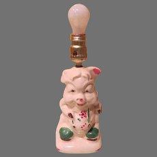 Little Piggy porcelain Dresser Lamp - b184