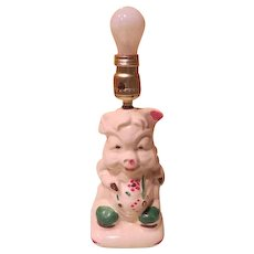 Little Piggy porcelain Dresser Lamp - b184