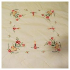 Santa Boots Appliqued and Embroidered Tablecloth - l4