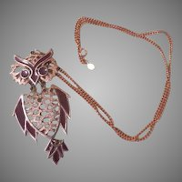 Feathered Friend Owl Pendant/necklace - Free shipping