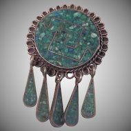 Silver with Mosaic Pin/pendant made in Mexico - Free shipping