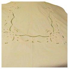 Appliques Ribbon and Cut-work Banquet Size Tablecloth