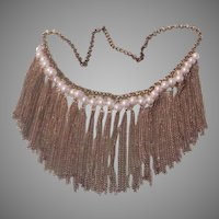 Fringe of Chains Faux Pearl Bib Necklace - free shipping