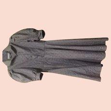 Blue Dots on Gray Puff Sleeve 70's shirtwaist Dress