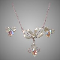 Silvery Leaves Aurora borealis Necklace and Screw Back earrings - Free shipping