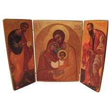 Liberia Ecumenica Triptych Holy Family Icon on Wood - b56