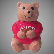 Avon Bear in red Sweater Cookie Jar - g