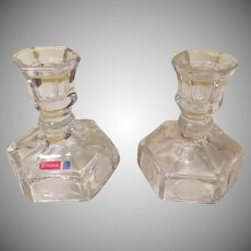 Fostoria Coin Glass Candle Holders - b190