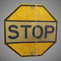 Yellow Stop Sign 40's City of Chicago - g