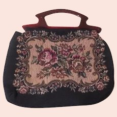 Textured Needlepoint Handle Handbag