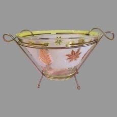 Aldon Gold Leaves Salad Bowl on Stand - g