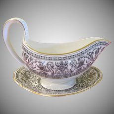 Wedgwood Florentine Black Dragon Outline W4312 Gravy Boat with Liner