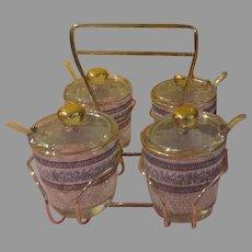 Jeannette Glass Patrician Greek Key with Gold Trim 4 Jar B-B-que  Set in Box
