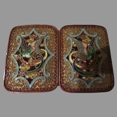 Birds on Wing Champleve' Enamel Art Nouveau Belt Buckle - Free shipping