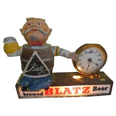 Vintage Blatz Beer lighted sign with Barrel Guy and Clock