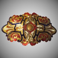 Brilliant Blue and Red Champleve' Enamel Art Nouveau Belt Buckle - Free shipping