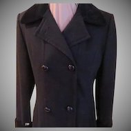 Velvet Cuffs and Collar Double Breasted Coat