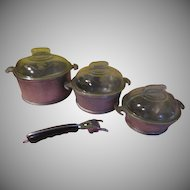 Guardian Service Goldilocks Small, Medium and Large Covered casseroles with Handle - g