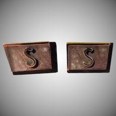 """""""S"""" Swank Initial Black and Silver tone Cuff links - Free shipping"""