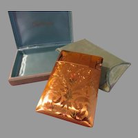 Elgin American Flower and Scroll Cigarette Case with Lighter in Pouch and Box - b196