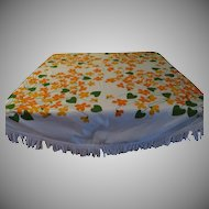 Fringed Orange Print Round Tablecloth - l9