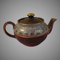 Green Over Brown Individual Sadler Tea Pot - b198