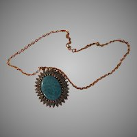 Fancy-faux Pendant on Chain - Free shipping