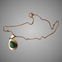 Teardrop Malachite Silver Necklace - free shipping